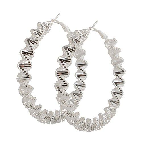 Geralin Gioielli Pendientes de aro grandes de plata para mujer, diseño de espiral, estilo vintage