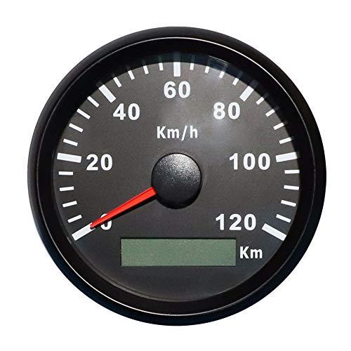 ELING GPS Tachometer Geschwindigkeitsmesser 120KM/H für Auto Motorrad Boot Yacht mit Hintergrundbeleuchtung 85mm 12V/24V