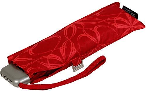 Doppler Taschenschirm Carbonsteel Slim Bloom rot