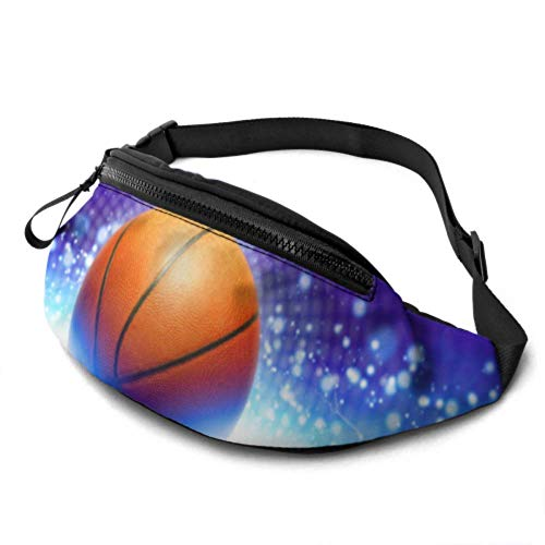 JOCHUAN Womens Fanny Pack Abstract Sports Basketball Puissant Blue Teacher Waist Pack with Headphone Jack and Adjustable Straps Traveler Waist Pack for Travel Sports Hiking