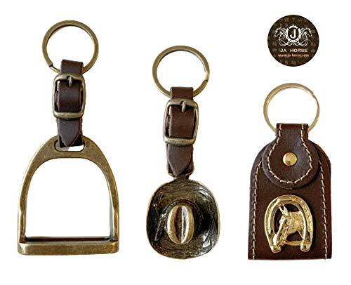 JA Horse - Leder Schlüsselanhänger Reitsport Pferd Western Reiter Cowboyhut Steigbügel Hufeisen (Cowboyhut)