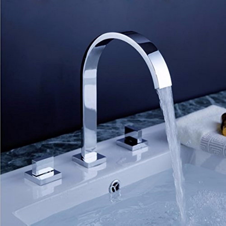 Alle Kupfer modernerDrei-Loch -Doppelgriffheies und kaltes Wasser Waschbecken imBadezimmer Waschtischmischer