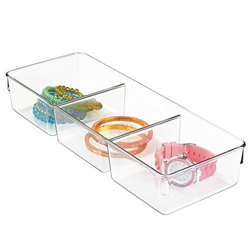 iDesign Organizador 3 divisores Linus Dresser 13 x 33 x 8 cm. Tranparente, 3 Compartimentos