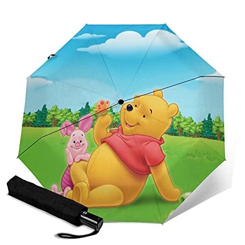 Pooh Bear - Paraguas automático de tres pliegues para adultos, unisex, impreso manual, paraguas portátil