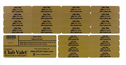 Golf Club Labels � Custom Labels � 24 Classy Golf Valet Labels for Golf Club ID Identification Tags, Golf Shaft Labels, Tools & More � Weatherproof, Fade Resistant Golf Labels Personalized Labels