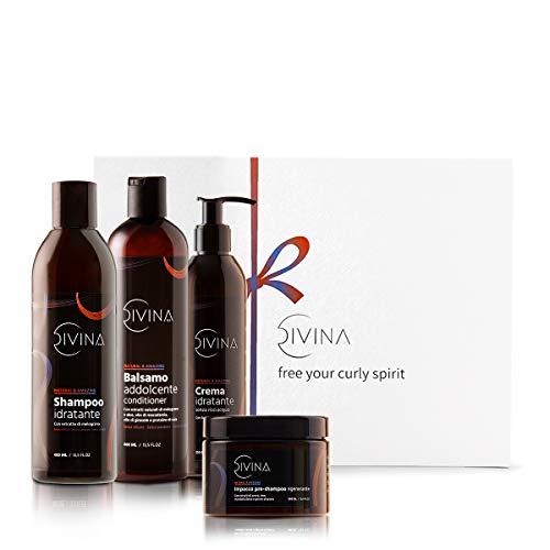 Kit Revitalizante Suavizante para cabello ondulazo y rizo Natural&Amazing de DIVINA BLK, 4 productos incluidos, tratramiento completo revitalizante