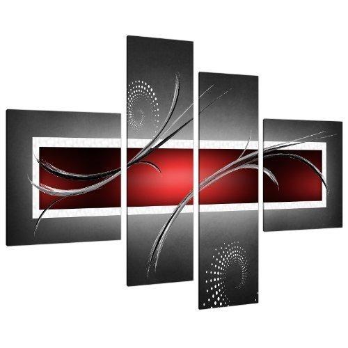 Wallfillers Cuadros en Lienzo Grande Abstracto Rojo Negro y Gris 130cm XL Pared 4091