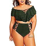Dicomi Costume Mare da Donna Trikini Costume in Pizzo Costume Due Pezzi Push up Bikini da Bagno Sexy Swimsuit Abiti da Spiaggia