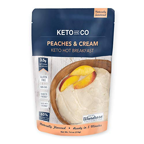 Keto Hot Breakfast by Keto and Co | Peaches and Cream Flavor | Just 3.5 Net Carbs Per Serving | Gluten Free, Low Carb, No Added Sugar, Naturally Sweetened | (8 Servings - Peaches and Cream)