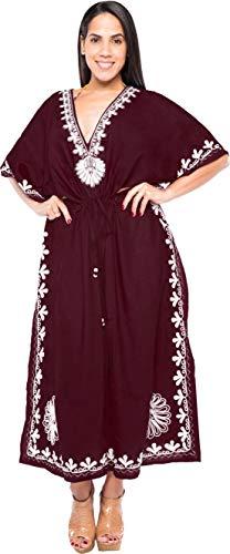 LA LEELA Mujeres caftán Rayón túnica 3D HD Impreso Kimono Libre tamaño Largo Abaya Vestido Jalabiyas de Fiesta para Loungewear Ropa de Dormir Playa Todos los días Cubrir Vestidos Violeta_Y240