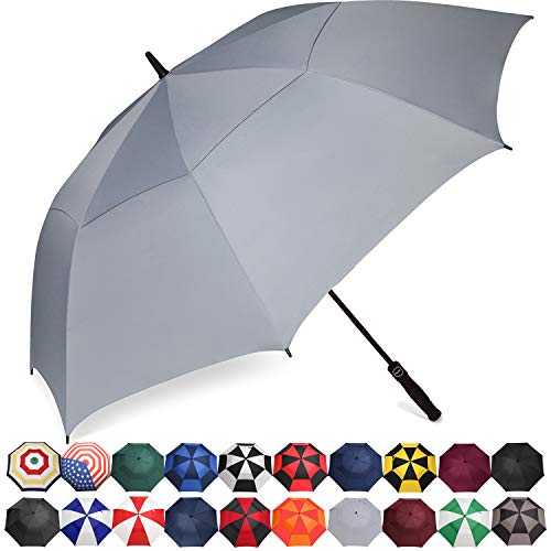 BAGAIL Golf Umbrella 68/62/58 Inch Large Oversize Double Canopy Vented Automatic Open Stick Umbrellas for Men and Women(Grey,62 inch)