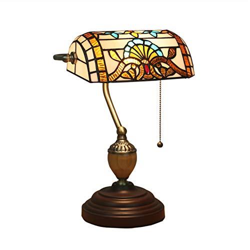 HHYHOME Buntglas Baroque Banker Schreibtisch Tiffany Stil Bankier Tischlampe Light European Retro Kreative Tischleuchte für Schlafzimmer Nachttisch Bar Ehe Rain Cafe Eckschrank