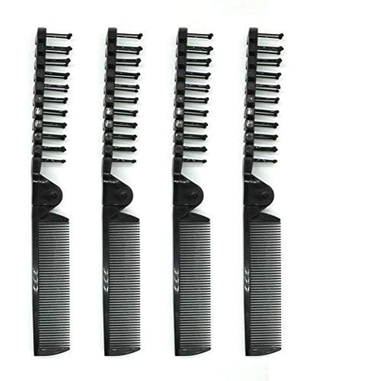 割れ目クスコデッキPUTYSUUN Portable Travel Comb Brush Combo Folding, Antistatic (Black) Pack of 4 [並行輸入品]