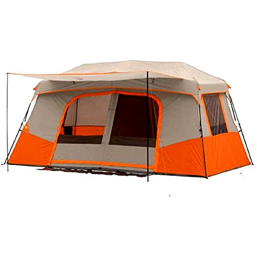 Skrootz Camping Tent 11 Person Instant Cabin Private Room Orange Color Quick 2 Min Setup Gear Organizer & Carry Bag Included
