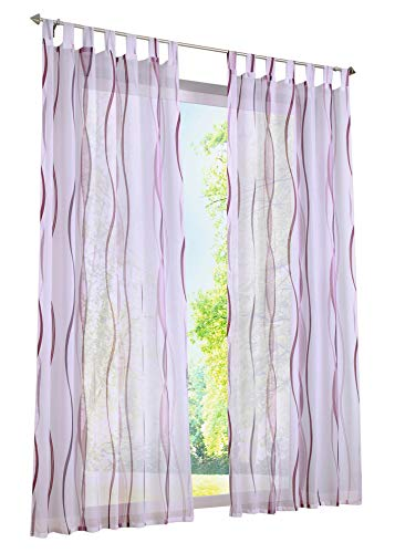 BAILEY JO 1er-Pack Gardinen mit Wellen Druck Design Vorhang Transparent Voile Vorhänge (BxH 140x225cm, violett mit schlaufen)