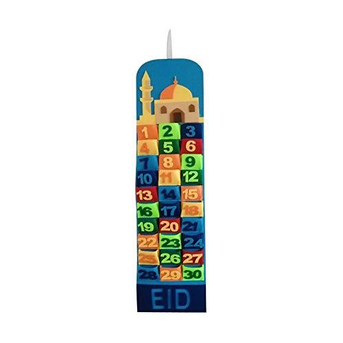 lingzhuo-shop Ramadan Kalender Filz ,adventskalender ,2020 Ramadan Dekorationen ,Wand 30 Tage Kalender , Mit Taschen Für Kinder Geschenke Party Filz , Multicolor , 20 75cm
