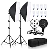 Photography Lighting 50x70CM Four Lamp Softbox Kit E27Socket with 8pcs Bulb Soft Box Accessories for...