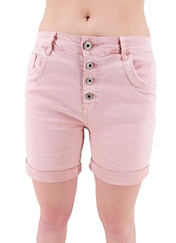 Damen Stretch Baggy Jeans Hot Pants Krempel Boyfriend Shorts Bermuda XS S M L XL (8489) (S - 36/38, Rosa)
