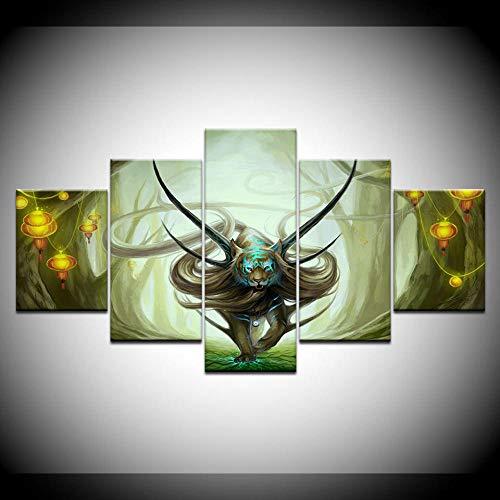 CGHBDOP Wandtattoos Bilder Leinwand Malerei Marmont Hill God Evanescence 5 Stück Modulare Wandkunst Poster Frame Print Wohnzimmer Home Decor