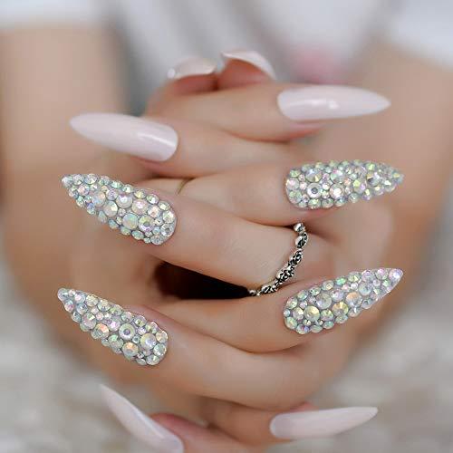 Glamour Rhinestone Extra Long Fake Nails Pink Gel UV Press On Nails Customized Handmade Design Artist False Nail 24 Pieces
