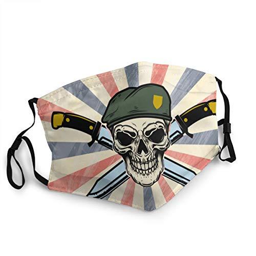 Fallschirmjäger Schädel mit gekreuzten Messern, verstellbare Mundbedeckung, waschbare Gesichtsmaske, Kopftuch, Sturmhaube, wiederverwendbare Halsmanschette