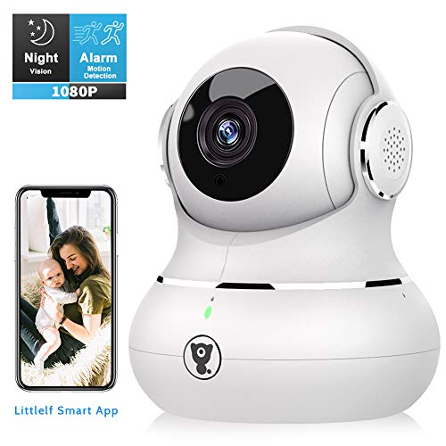 Indoor WiFi Security Camera, Littlelf Smart 1080P Home Wireless Pet Camera for Baby Monitor with Motion Tracking, 2-Way Audio, Night Vision and Cloud Service