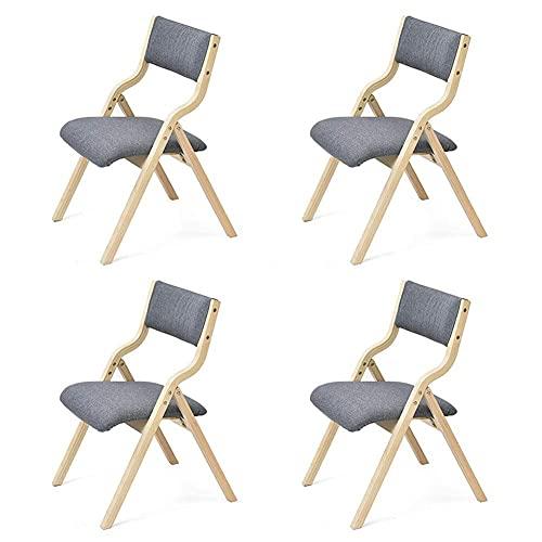 N&O Renovierungshaus Klapp-Esszimmerstuhl Massivholzrahmen Freizeit Rückenlehne Tischstühle Abnehmbarer Leinenbezug Platzsparend 475 mal 555 mal 80cm (Farbe T1 Größe 4 Stück)