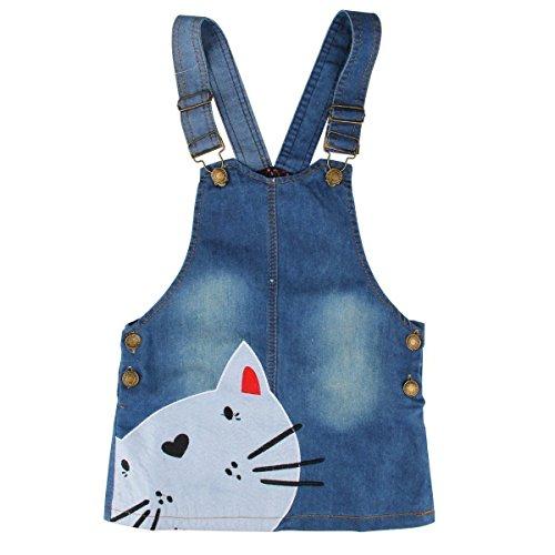 Kids Girls Cute Cat Face Princess One Piece Denim Jeans Jumper Overall Suspender Skirt Pinafore Dress Age 2-7 (#130(Age 6-7))