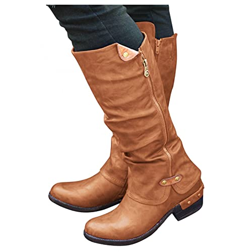 Leather Knee High Boots for Women Winter Warm Round Toe Buckle Shoes Chunky Heeled Motorcycle Combat Boots ,e15 Brown