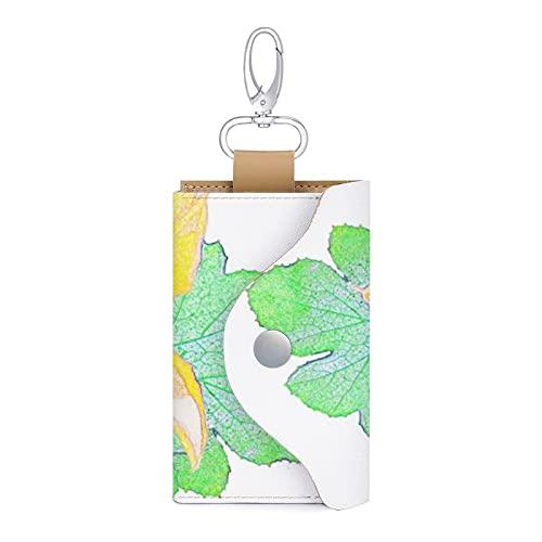 Funda para llaves de coche de piel sintética con diseño de hojas verdes de squash
