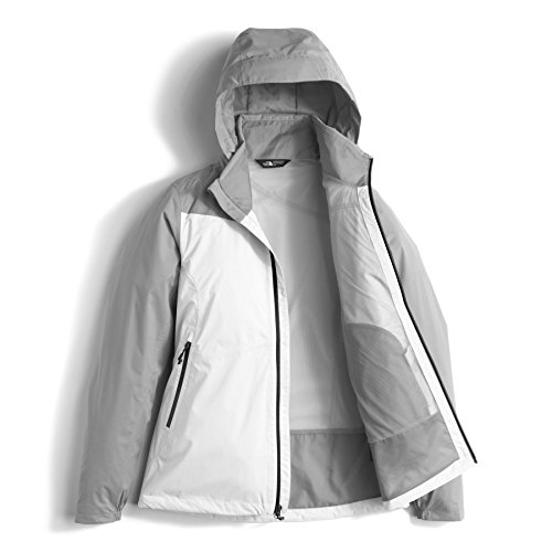 The North Face Women's Plus Resolve DWR Rain Jacket, TNF White/Mid Grey Dobby, X-Large