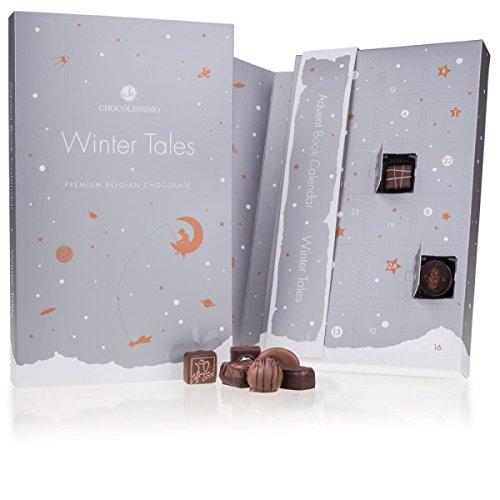 WINTER TALES PRALINES - Adventskalender für Erwachsene | Edle Pralinen | Schokolade | Weihnachtskalender | Weihnachten | Männer | Frauen | Mann | Frau | luxuriös | zum Aufklappen | Silber