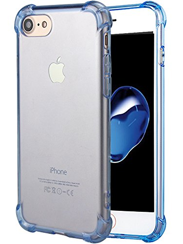 MATONE for iPhone 7 Case, for iPhone 8 Case, Crystal Clear Shock Absorption Technology Bumper Soft TPU Cover Case for iPhone 7 (2016)/iPhone 8 (2017) - Clear Blue