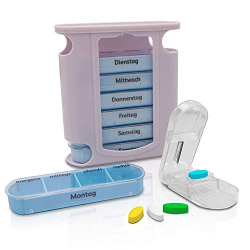 Nestor&Gamble Tablettenbox für 7 Tage - Hochwertige Pillendose mit 4 Fächern - Medikamentenbox inklusive Tablettenteiler - Praktische Pillenbox für Morgens, Mittags, Abends & Nachts