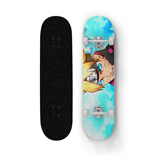Uzumaki Boruto Niebieskie Oczy Anime Skateboard, Mini Cruiser, Skateboard de 7 capas de arce de 7 capas, Rodamiento de carga 100 kg, Scooter de la calle de la calle para principiantes, regalo de vacac