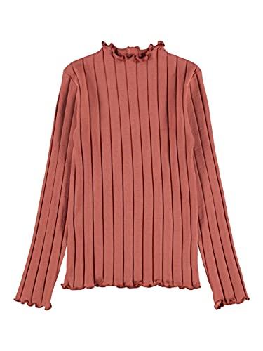 NAME IT NKFNORALINA LS Slim Top Noos Camiseta de Manga Larga, Etruscan Red, 146 cm-152 cm para Niñas