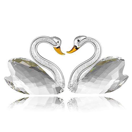 Vie Jeune Crystal Couple Swan Figurine Home Decoration, Handmade Lover Swan Statue Ornament, Crystal Crafts Paperweight Collectible, Great Gift for Girlfriend Birthday Holidays Christmas (Clear)