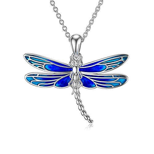 PELOVNY Dragonfly Necklace for Women S925 Sterling Silver Big Dragonflies Pendant for Girls Dragonfly Gifts for Lover Chain 18''+2'' (Blue Dragonfly)