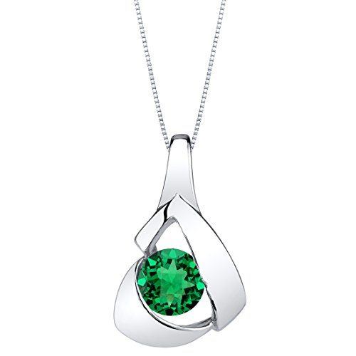 Peora Simulated Emerald Pendant Necklace in Sterling Silver, Chiseled Solitaire Design, Round Shape, 6mm, 0.75 Carat with 18 inch Chain