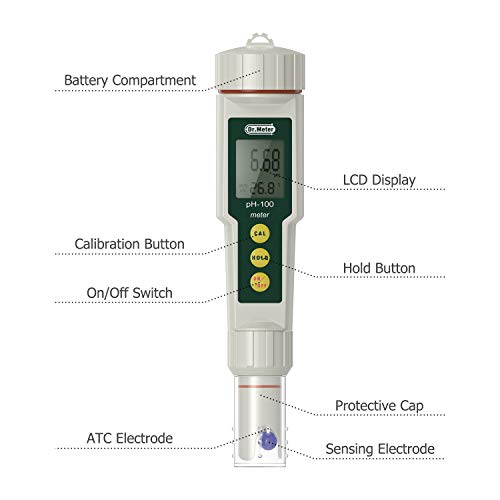 Dr.meter PH100-V 0.01 Resolution High Accuracy Pocket Size pH Meter