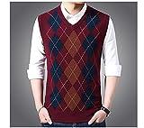 Warsoniod Chaleco De Punto para Hombre - Winter Men's Argyle Sleeveless Vests Jumper Knitted Warm Waistcoats,Casual Men V-Neck Slim Fit Pullovers Uniform Sweater Vests Clothing,Wine Red,L