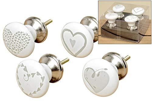 Pomelli per mobili o porte, con disegni a forma di cuore, 4 pezzi, altezza 6 cm, in dolomite