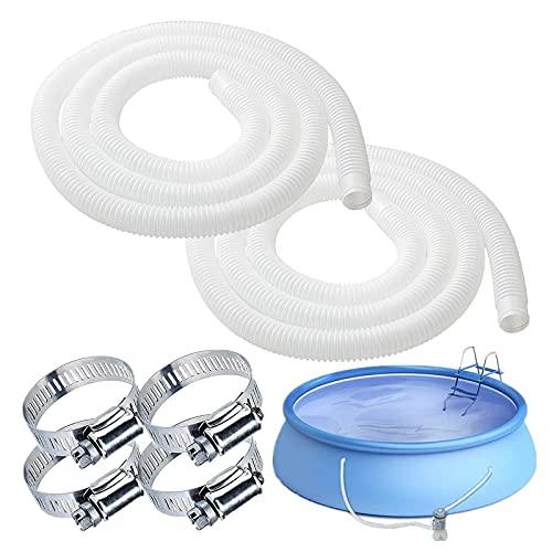 BBYU 2 Stück Poolschlauch 32mm Weiß 1.5M mit Klemme & Wasserdichtes Klebeband I Pool Schlauch I Pool Ersatzschlauch I Schwimmbadschlauch I Wasserschlauch Flexibler (Weiß, 1.25 X 59 zoll)