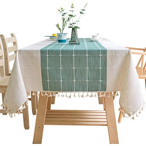 teng hong hui Mantel de Lino de algodón de Lino Cubierta de Mesa de Tapa cuadrícula decoración del hogar Mantel Mantel Tela de Mesa con borlas