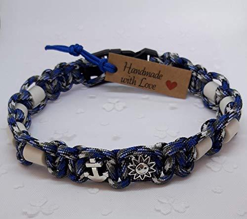 EM-Keramik-Halsband für Hunde/EM - Hundehalsband/EM Band - Barny/blau-weiß-grau Farbmix