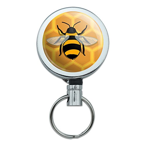 Bee on Honeycomb Heavy Duty Metal Retractable Reel ID Badge Key Card Tag Holder with Belt Clip
