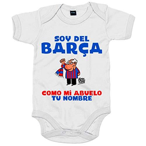 Body bebé frase parodia soy del Barcelona como mi abuelo personalizable con nombre - Blanco, 6-12 meses