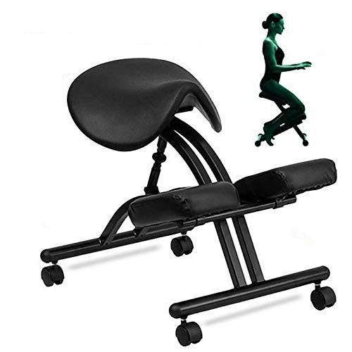 HOUSHIYU-521 Ergonomic Kneeling Home Office Chair, Adjustable Stool with Saddle Seat, Dual Vinyl Knee Rest Pads and PE Wheels for Better Posture, Spine Correction,Black
