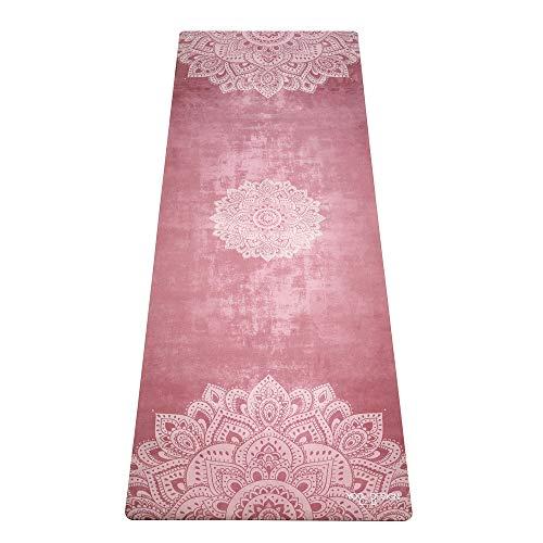 Yoga Design Lab Combo Yogamatte 3,5mm | rutschfest, Matte/Handtuch, Guter Halt bei viel Schweiß, Naturkautschuk | mit Tragegurt (Mandala Ginger)