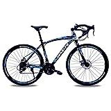 Bicicleta De Carretera para Hombres Y Mujeres con Marco De Aleación De Aluminio, con Una Palanca De Cambios De 21 Velocidades, Ruedas De 700c, Suspensión Completa Frenos De Disco (Color:Negro + Azul)